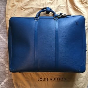 Blue Epi leather Louis Vuitton luggage bag